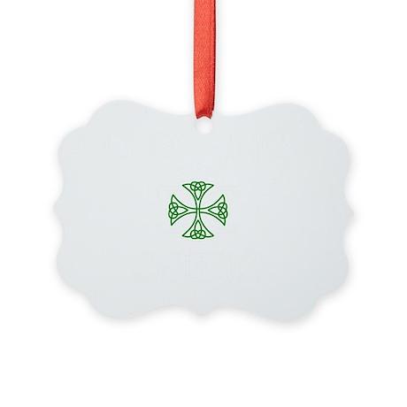 White logo w green knot Picture Ornament
