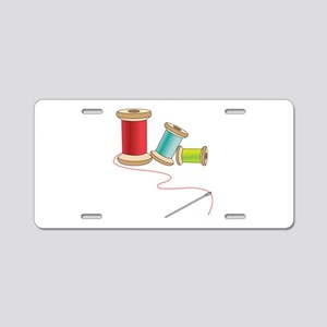 Thread and Needle Aluminum License Plate