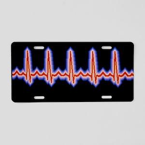 Heartbeat trace Aluminum License Plate
