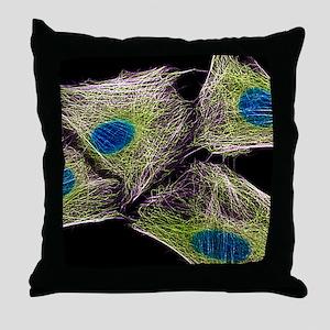 HeLa culture cells Throw Pillow