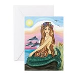 Mermaid and 3 Dolphins Greeting Cards (Package of