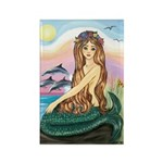Mermaid and 3 Dolphins Rectangle Magnet