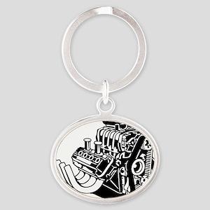 Hemi Hotrod Engine Oval Keychain