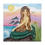 Mermaid and 3 Dolphins Tile Coaster