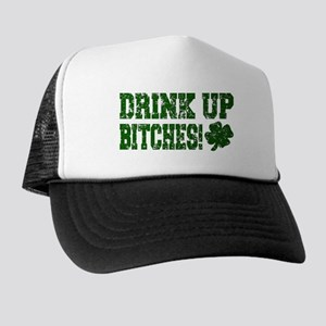 Drink Up Bitches Distressed Trucker Hat