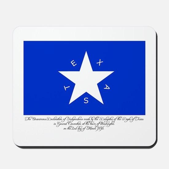 Texas Flag with Declaration Mousepad