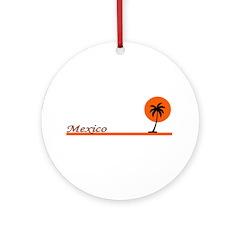 Mexico Orange Sun Ornament (Round)
