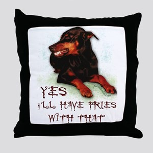 Doberman Humor Throw Pillow