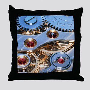 Internal cogs and gears of a 17-jewel Throw Pillow