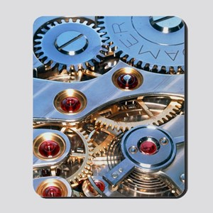 Internal cogs and gears of a 17-jewel Sw Mousepad