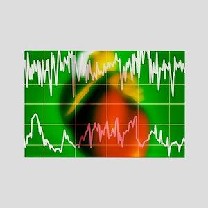 Irregular heartbeat Rectangle Magnet