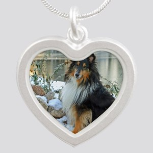 Tri-Color Sheltie Silver Heart Necklace
