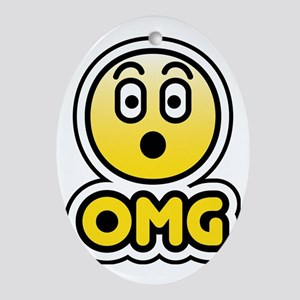 OMG bbm smiley face Oval Ornament