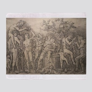 Bacchanal with Wine Press - Andrea Mantegna Throw