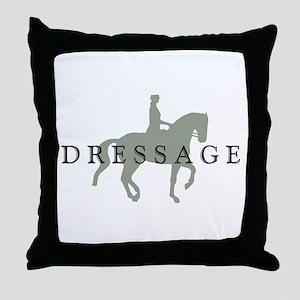 Piaffe w/ Dressage Text Throw Pillow
