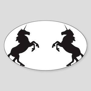 Twin Unicorns Sticker (Oval)