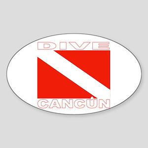 Dive Cancun Oval Sticker
