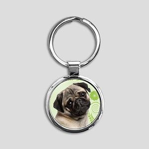 Pug Round Keychain