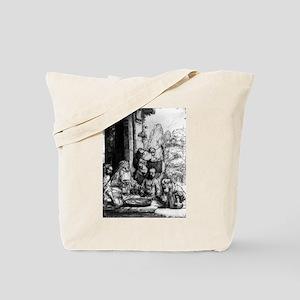Abraham entertaining the three angels - Rembrandt