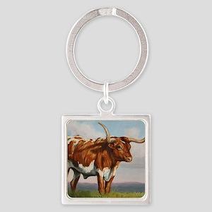 Texas Longhorn Steer Square Keychain