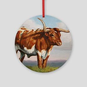 Texas Longhorn Steer Round Ornament