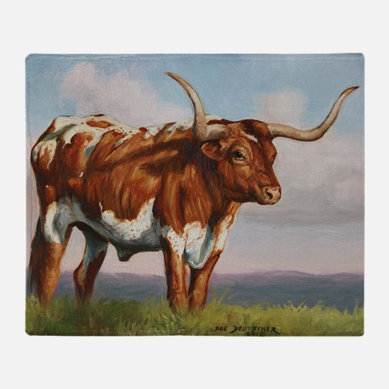 Texas Longhorn Steer Throw Blanket