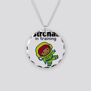 Ethnic Astronaut in Training Necklace Circle Charm