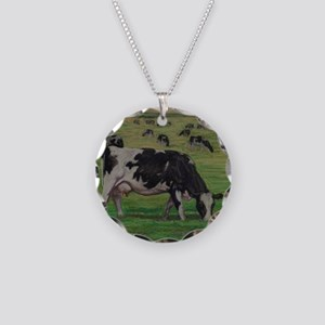 Holstein Milk Cow in Pasture Necklace Circle Charm
