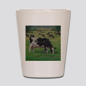 Holstein Milk Cow in Pasture Shot Glass