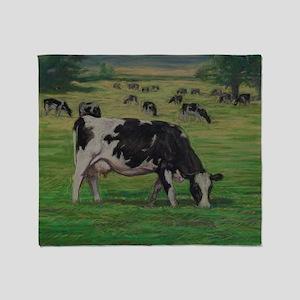 Holstein Milk Cow in Pasture Throw Blanket