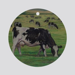 Holstein Milk Cow in Pasture Round Ornament