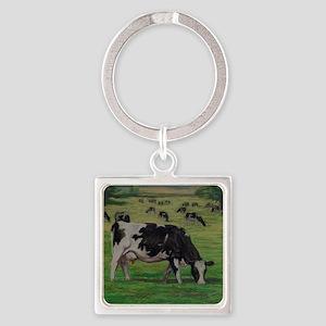 Holstein Milk Cow in Pasture Square Keychain