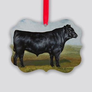 Black Angus Picture Ornament