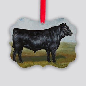 Black Angus Picture Ornament