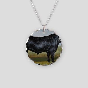 Black Angus Necklace Circle Charm