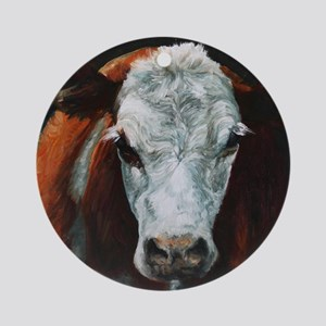 Hereford Cattle Round Ornament