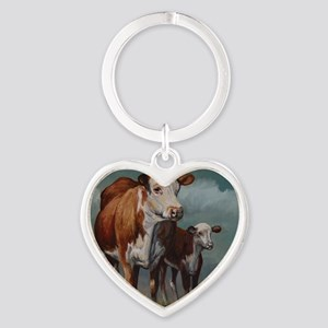 Hereford Cow and Calf in Pasture Heart Keychain