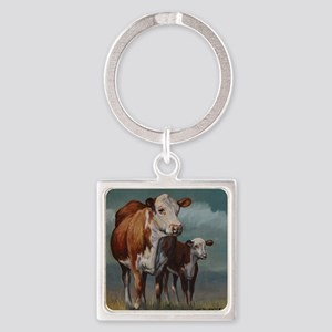 Hereford Cow and Calf in Pasture Square Keychain