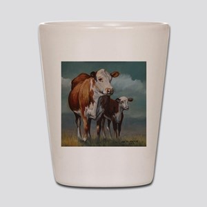 Hereford Cow and Calf in Pasture Shot Glass