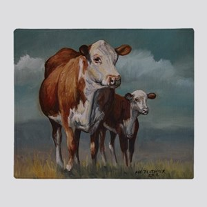 Hereford Cow and Calf in Pasture Throw Blanket