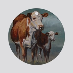 Hereford Cow and Calf in Pasture Round Ornament