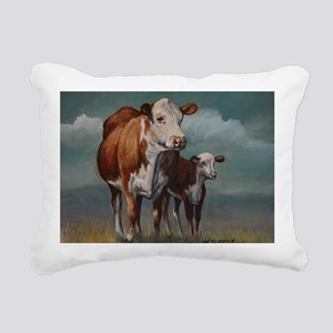Hereford Cow and Calf in Rectangular Canvas Pillow