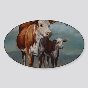Hereford Cow and Calf in Pasture Sticker (Oval)