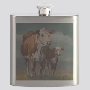 Hereford Cow and Calf in Pasture Flask