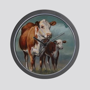 Hereford Cow and Calf in Pasture Wall Clock