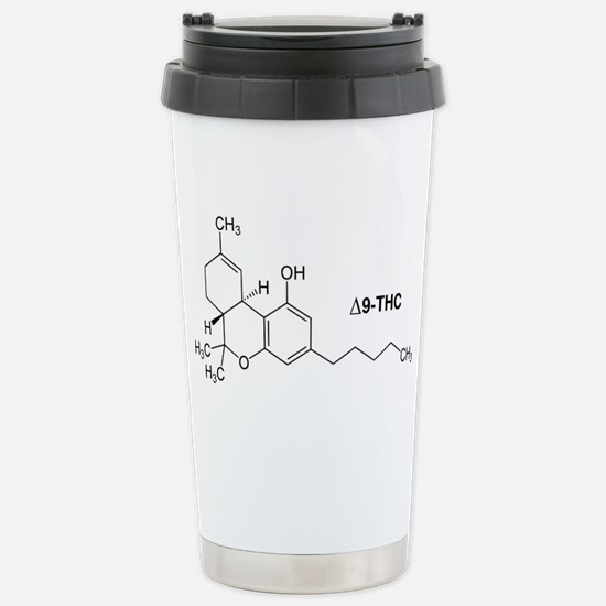 Delta 9 THC Molecule Stainless Steel Travel Mug