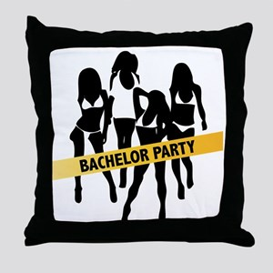 Bachelor Party Girls Police Tape Throw Pillow