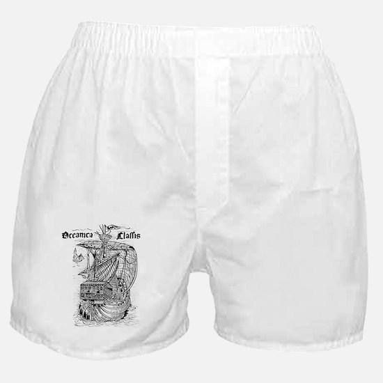 Woodcut illustration showing Columbus Boxer Shorts