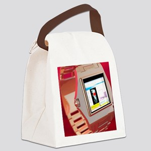 Wrist watch computer, computer ar Canvas Lunch Bag