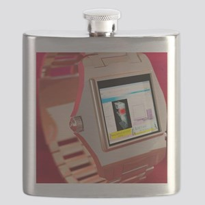 Wrist watch computer, computer artwork Flask